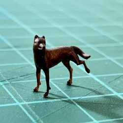 Dog peeing scale model